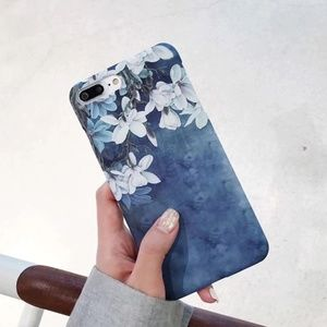 Blue Floral Iphone 7 case, white flowers